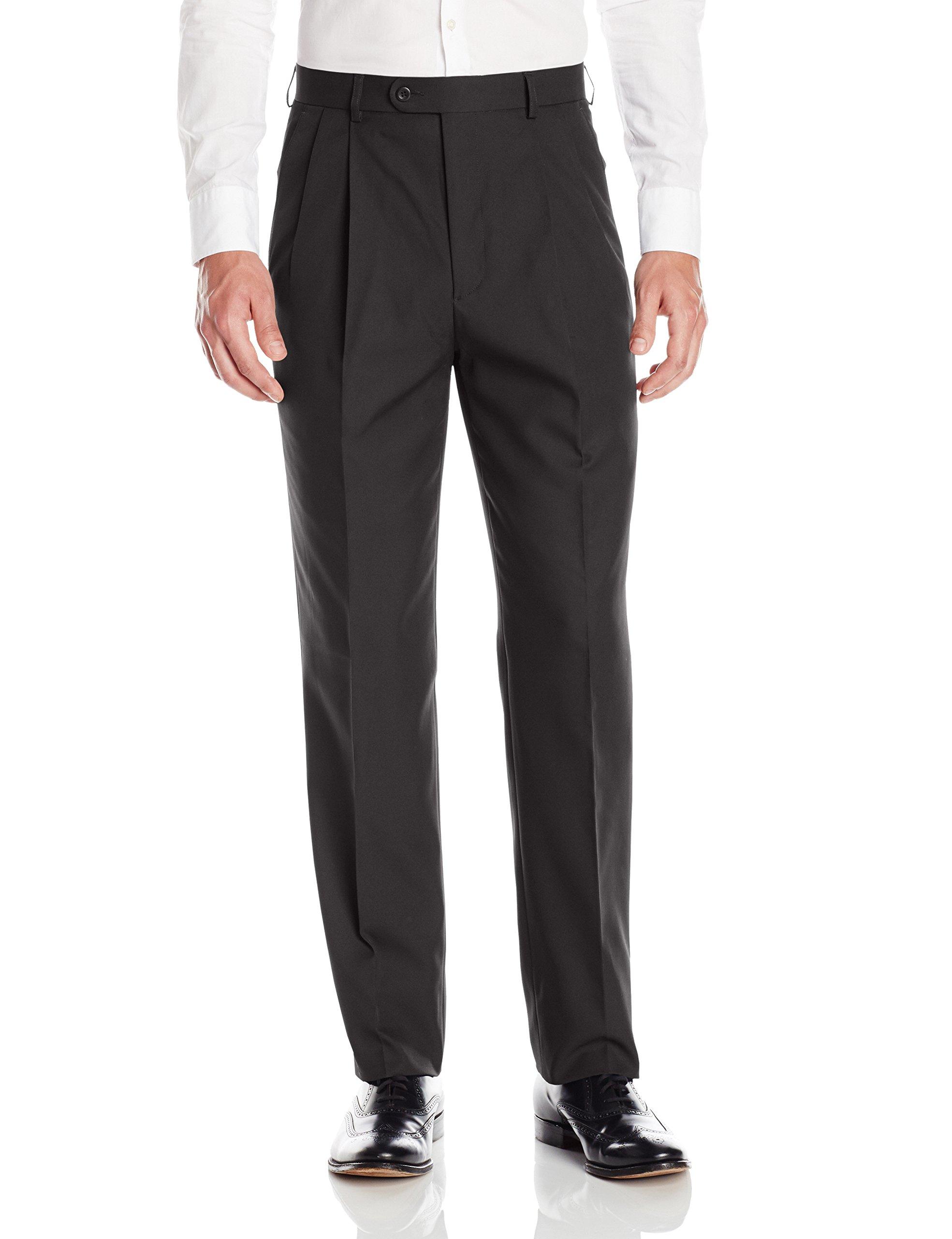 Linea Naturale Men's Pleated Washable Microfiber Twill Trouser, Black, 35W