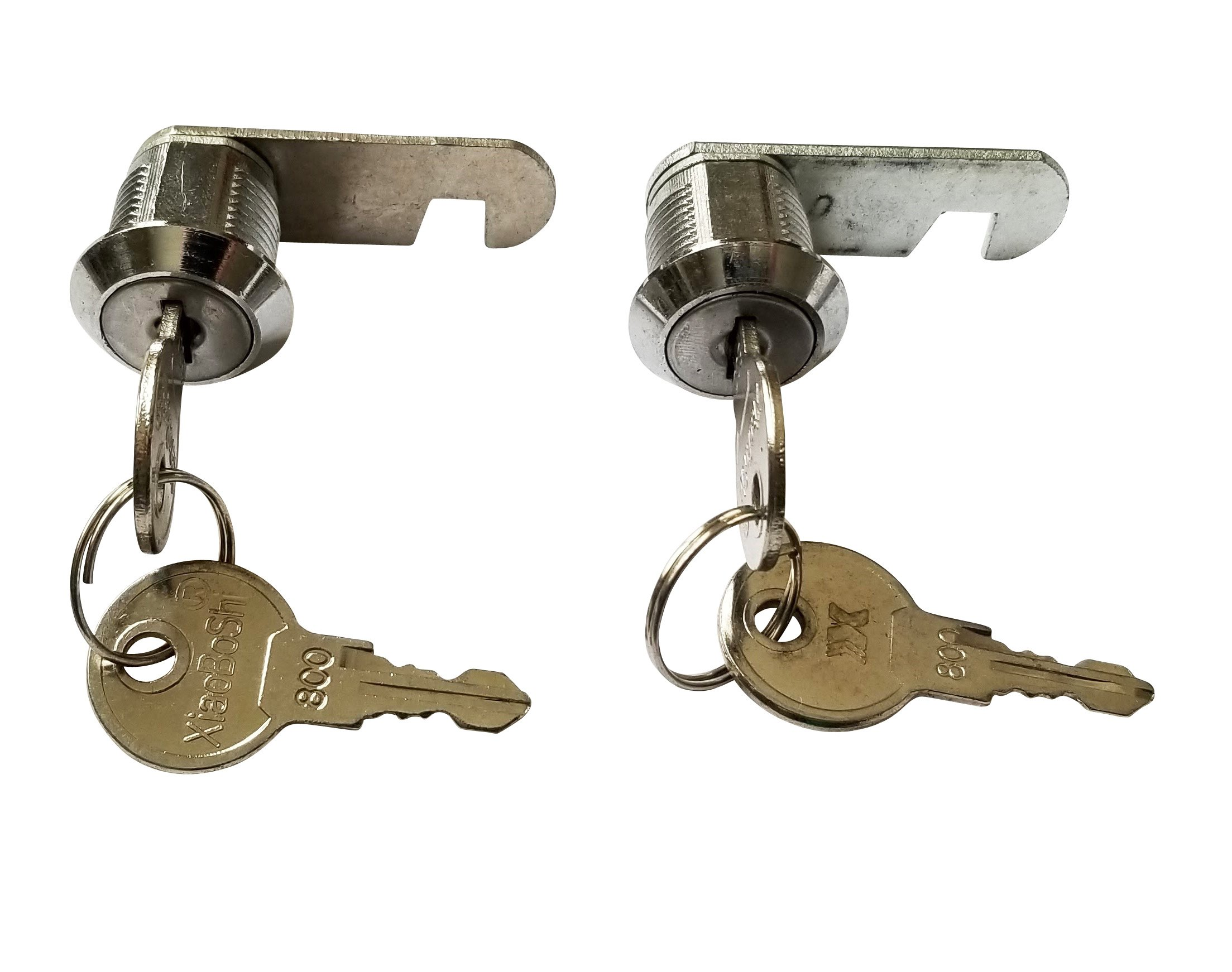 5/8 inch or 16mm Cam Lock with Flat Keys. 16mm 5/8 Cylinder and Chrome Finish, Keyed Alike (Pack of 2)