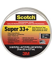 3M 06132 Scotch Super 33+ Cinta Eléctrica de Vinilo, 19 mm x 20 m, 1 Rollo, Negro