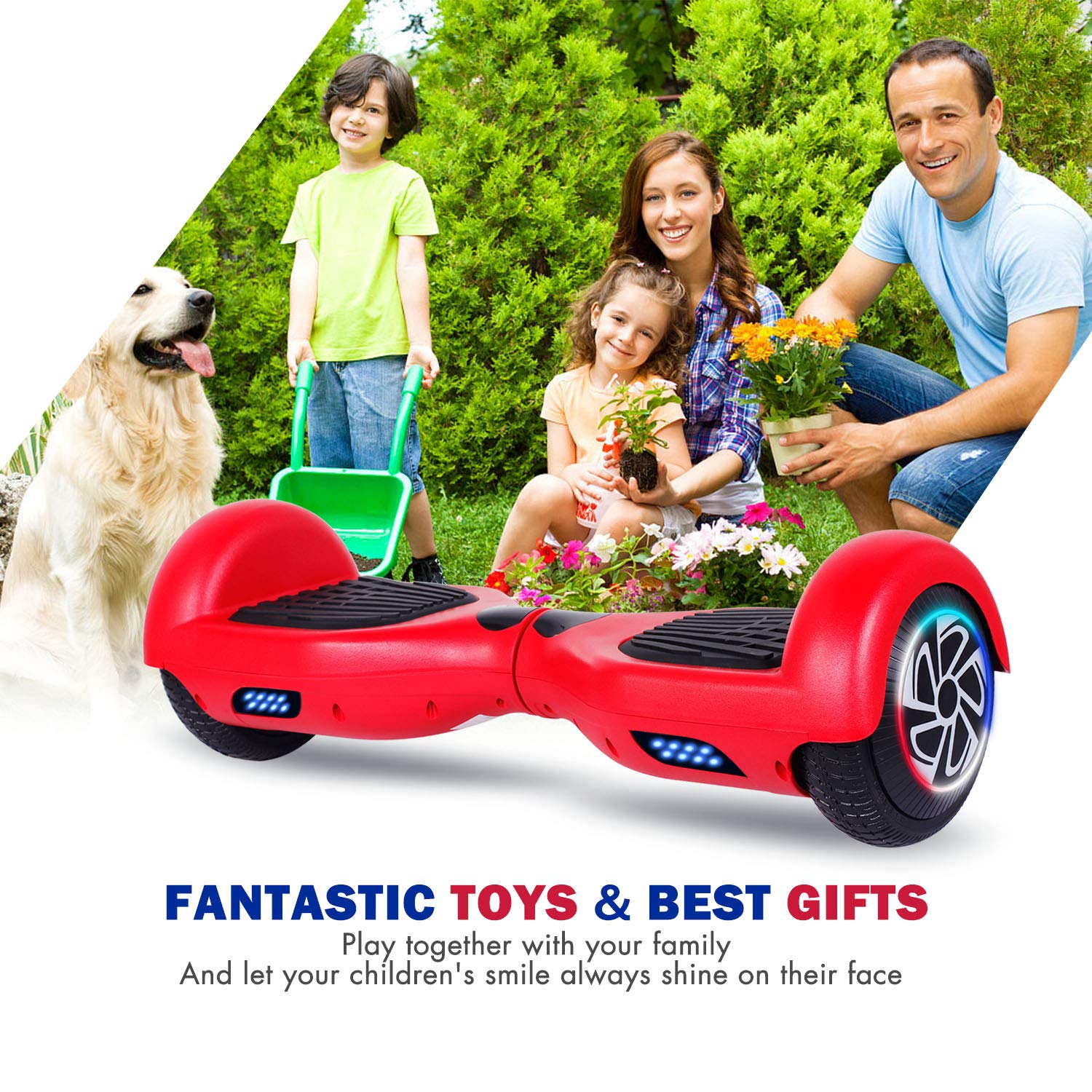 SISIGAD Hoverboard Self Balancing Scooter 6.5'' Two-Wheel Self Balancing Hoverboard with LED Lights Electric Scooter for Adult Kids Gift UL 2272 Certified - Red by SISIGAD (Image #6)