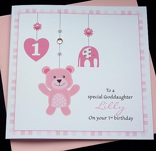 Handmade personalised baby girls 1st first birthday card amazon handmade personalised baby girls 1st first birthday card bookmarktalkfo Images
