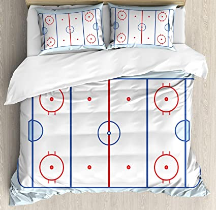 Lovely USOPHIA Hockey Queen Size 4 Pieces Bed Sheets Set, Ice Hockey Field In Blue  Tones