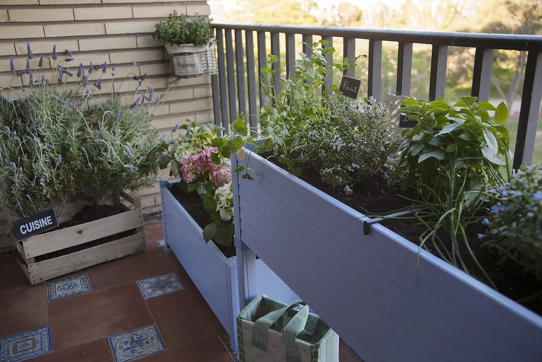 Huerto urbano GREENLAND especial balcón. 120x32x75 cm. Color:Azul ...