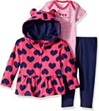 Gerber Baby Girls' 3 Piece Hooded Jacket, Bodysuit and Pant Set