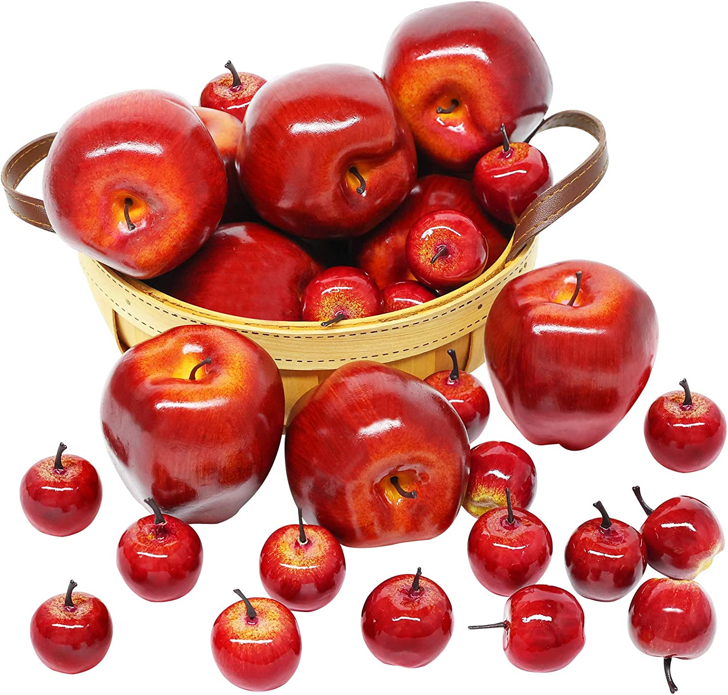 BigOtters Artificial Apples, 30PCS Fake Fruits Red Apples Dark Red Apple Lifelike Simulation for Home House Kitchen Table Basket Photography Party Decoration