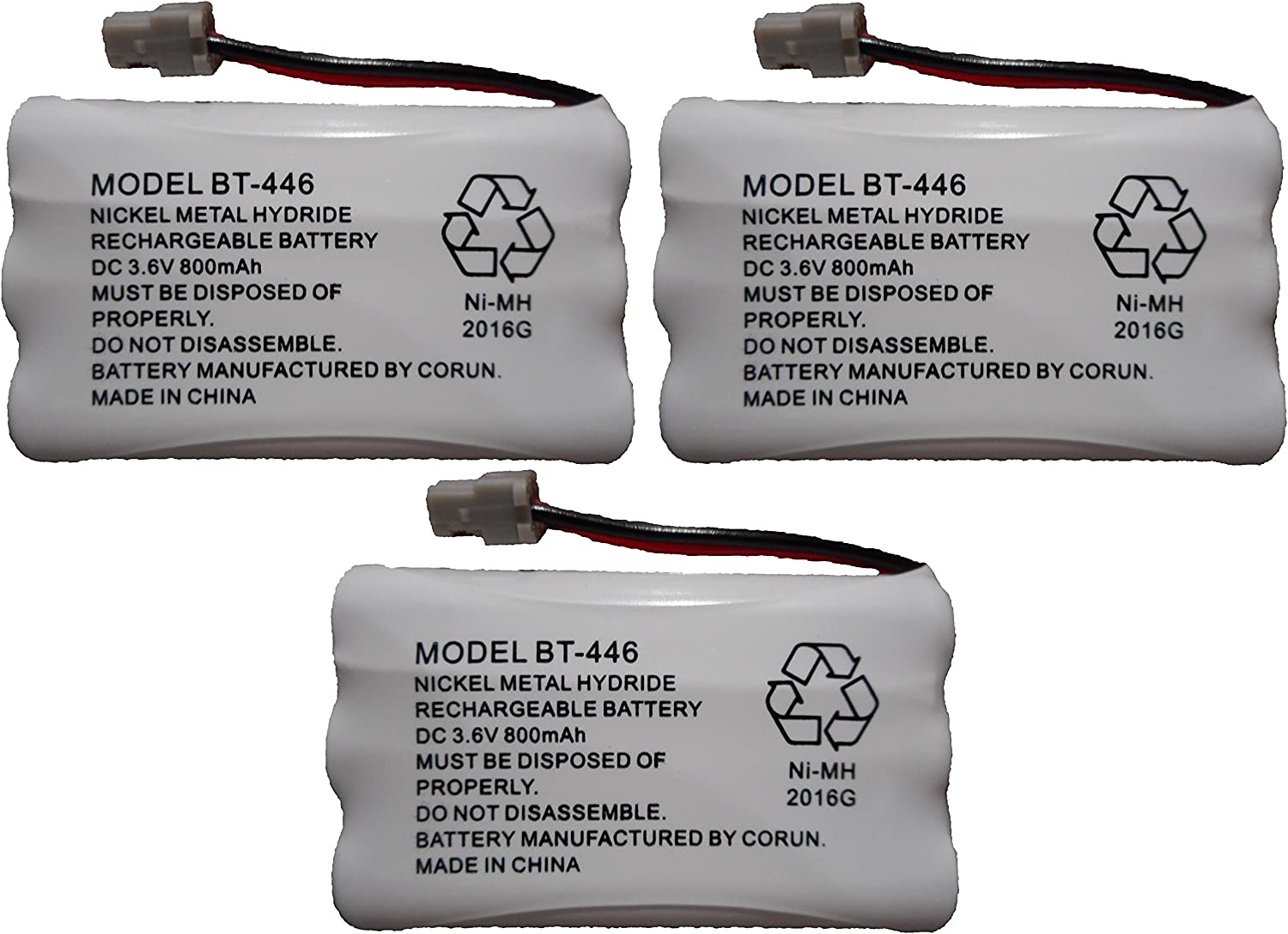 BT446 BT-446 BBTY0503001 BT-1004 BT-1005 GE-TL26402 BT-504 CPH-488B Rechargeable Cordless Telephone Battery DC 3.6V 800mAh Manufactured by Corun for Uniden
