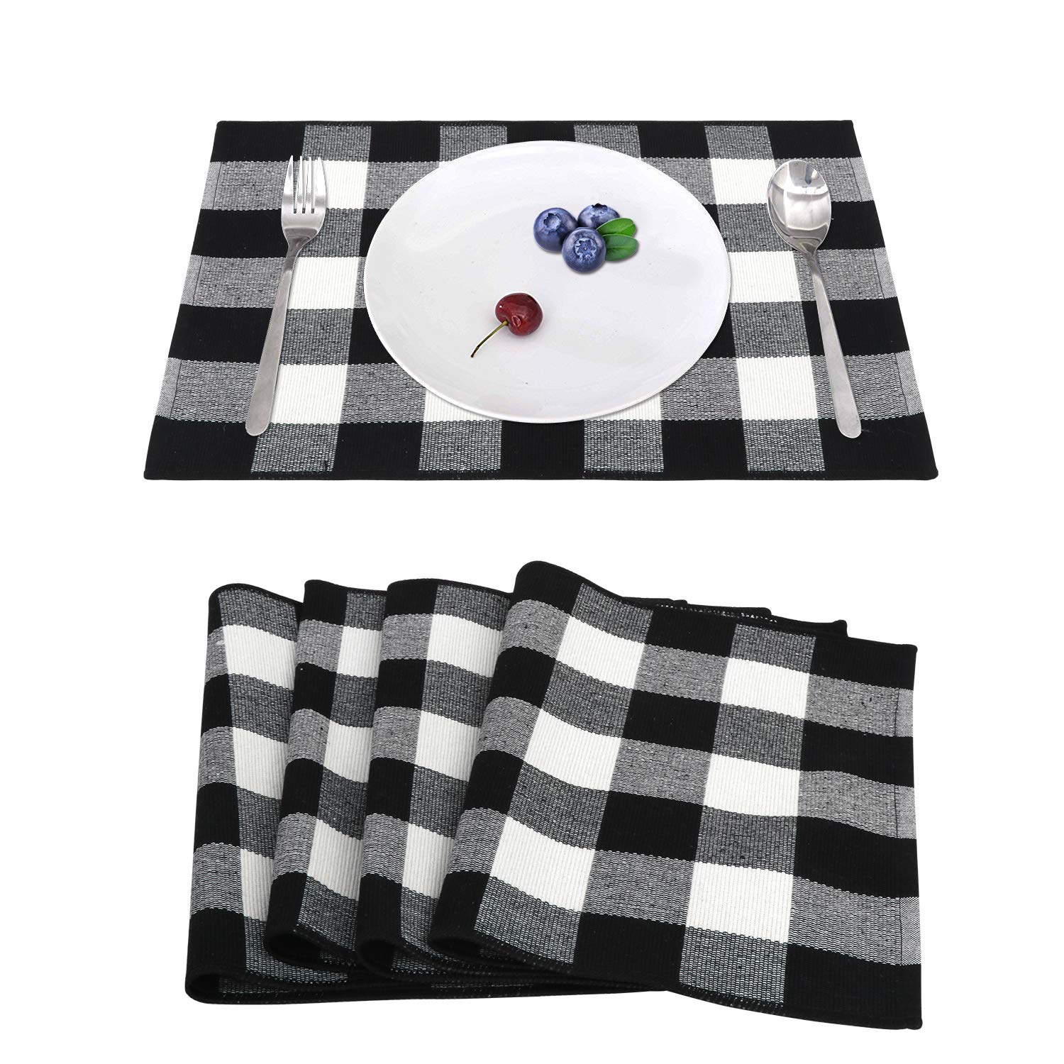 KIMODE 100% Cotton Buffalo Plaid Placemats Set of 4, Black/White Hand-Woven Checkered Heat Resistant Kitchen Table Mats, Farmhouse Dinning Table Linen Machine Washable Minimalist Home Decorative by KIMODE