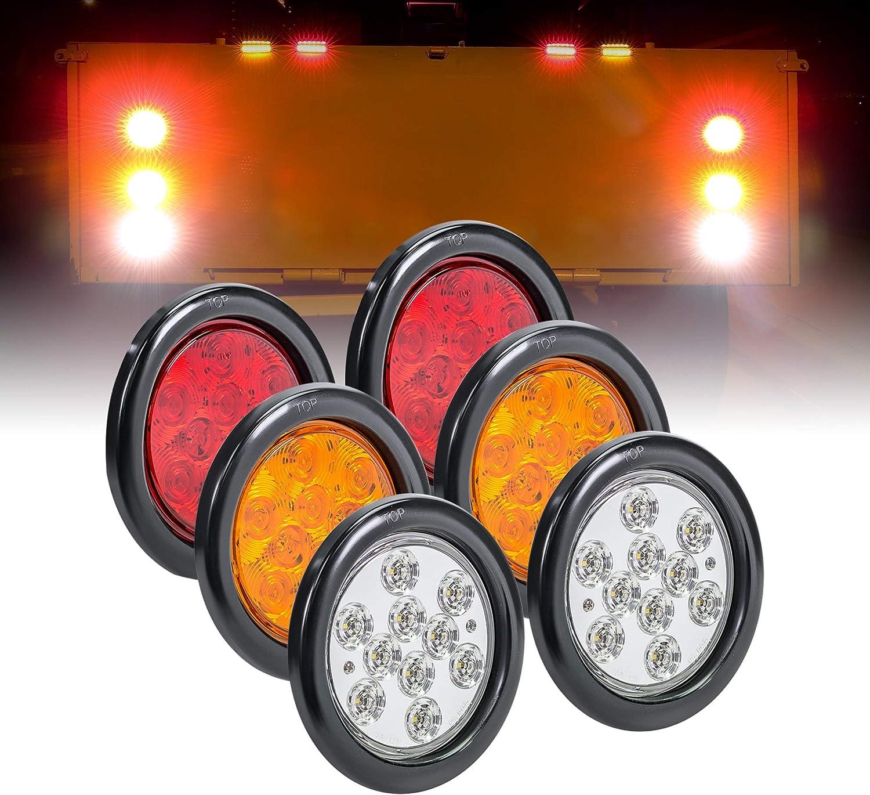 Park /& Turn Signal Grommet /& Plug Included 4pc 6 Amber Oval LED Trailer Tail Light Kit DOT FMVSS 108 Marine Trailer Lights for Boat Trailer RV Trucks 24 LED SAE STIP IP67 Waterproof