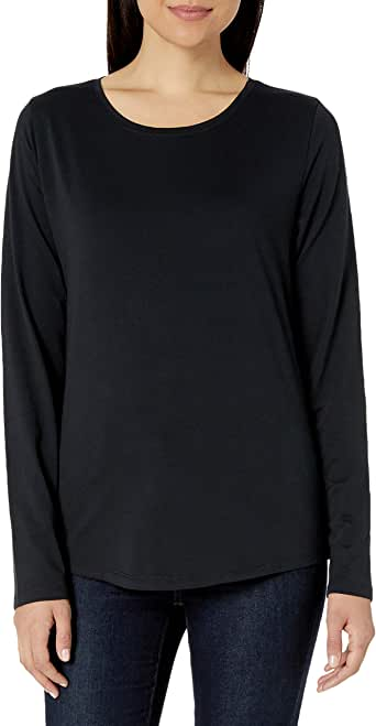 Amazon Essentials Women's Classic-Fit 100% Cotton Long-Sleeve Crewneck T-Shirt