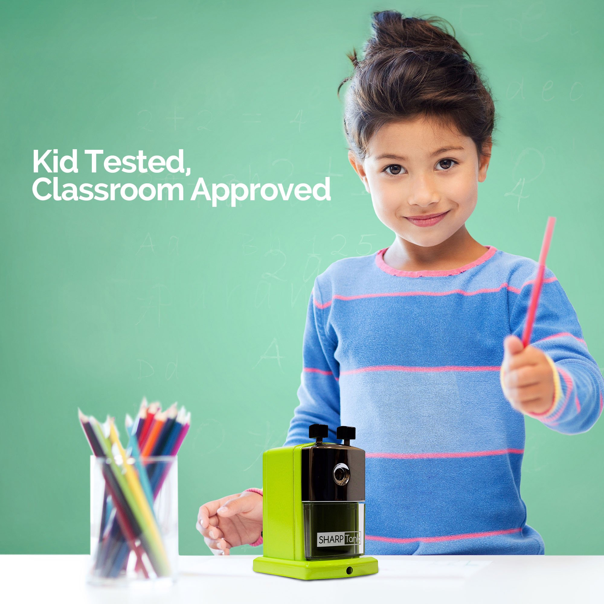 SharpTank - Portable Pencil Sharpener (Key Lime Green) - Compact & Quiet Classroom Sharpener That Gets Straight to The Point! by SHARP TANK (Image #2)