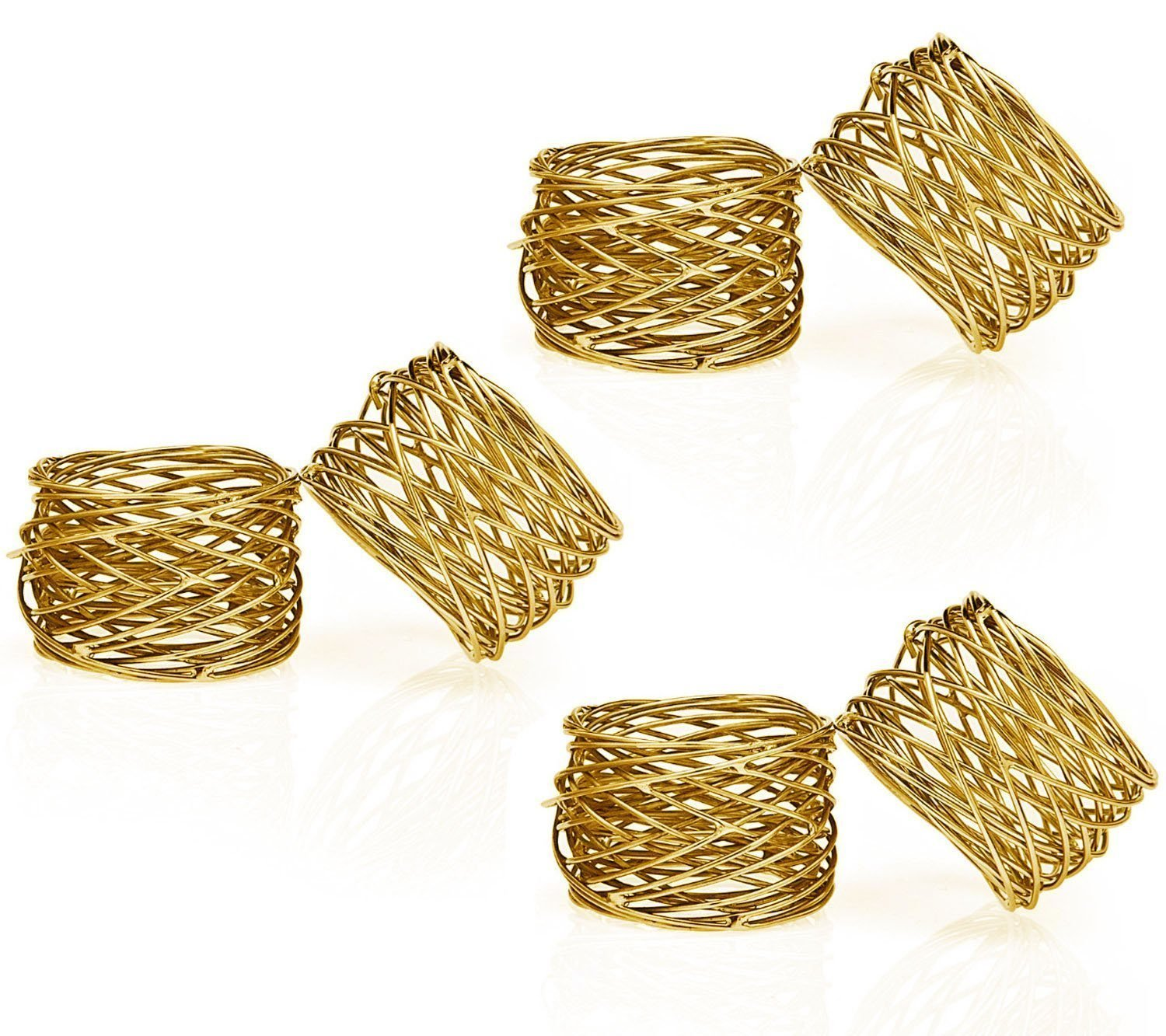 SKAVIJ Handmade Gold Napkin Rings Set of 4 Round Mesh for Weddings Dinner Parties or Every Day Use M-NR1