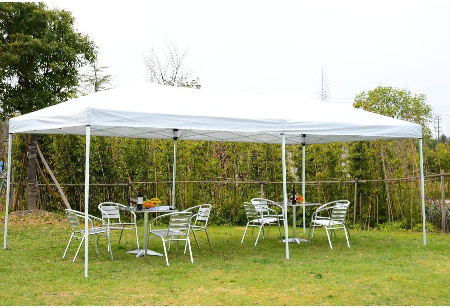 Outsunny Carpa 6x3m Plegable en Acordeon + Cortinas Mosquitera + ...