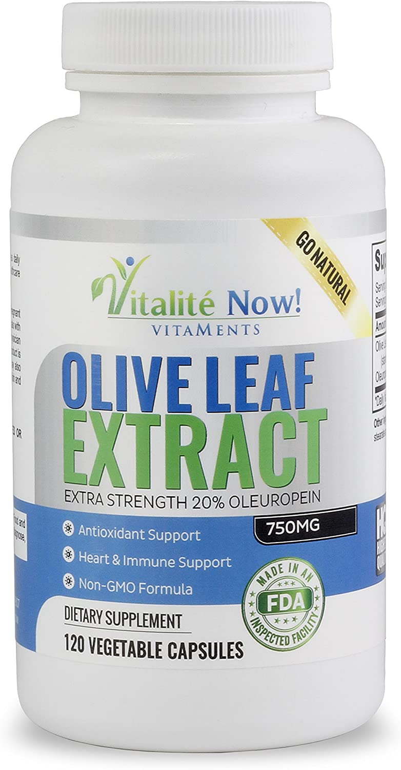 Super Strength Best Olive Leaf Extract (Non-GMO) - 20% Oleuropein - Anti-inflammatory - Potent Antioxidant & Immune Support Supplement - Up to 4 Months - 750mg Capsules - Vegetarian - 120 Count