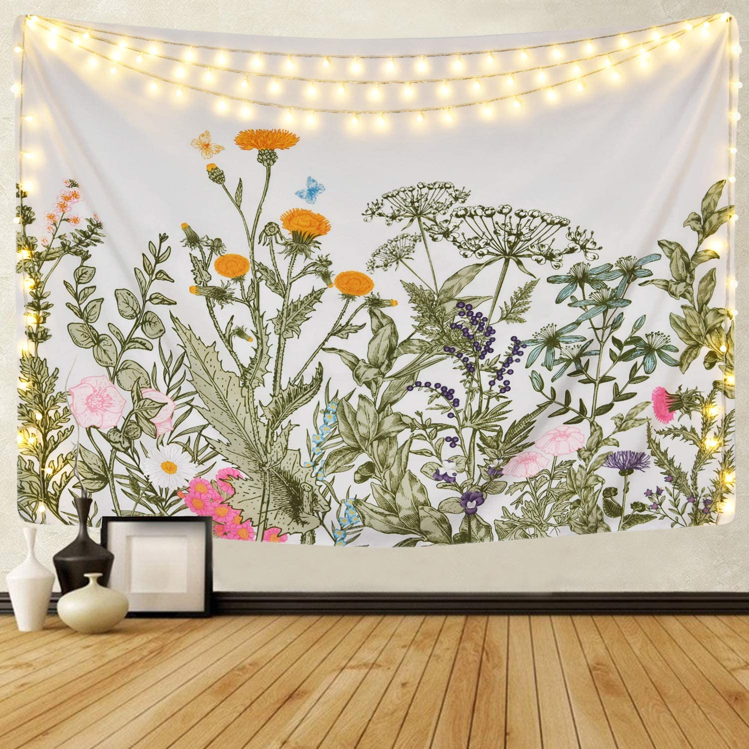Sevenstars Plants Floral Tapestry Wild Flowers Tapestry Vintage Plants Tapestry Wall Hanging Nature Scenery Tapestry for Room
