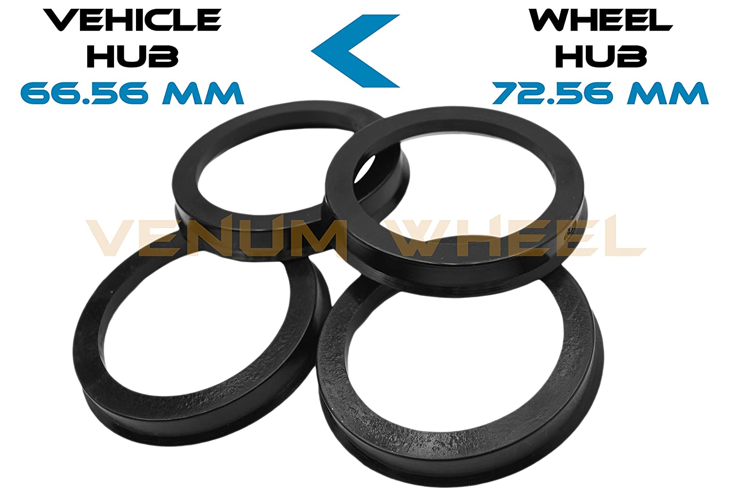 4 Hub Centric Rings 66.56 ID To 72.56 OD Black Polycarbonate Material ( Vehicle 66.56 mm to Wheel 72.56) VENUM WHEEL ACCESSORIES