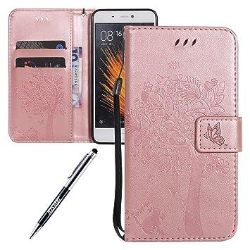Carcasa Xiaomi Mi 5, Funda Xiaomi Mi5, JAWSEU Xiaomi Mi 5 Tapa Trasera Carcasa Diseño Empalme Cuero Billetera PU Leather Premium y Suave TPU Silicona ...