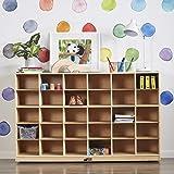 ECR4Kids Birch 30 Cubby Tray Cabinet