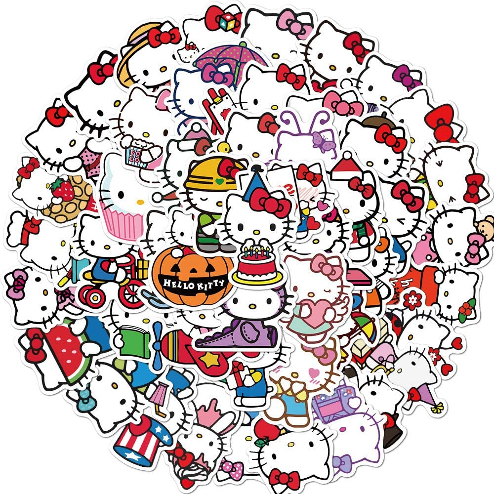 Cute Hello Kitty Stickers for Laptop Phone, Cartoon Waterproof Vinyl Decal for Teen Water Bottle Skateboard Travel Case Guitar Bicycle (Hello Kitty)