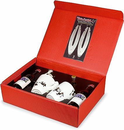 Take2 26070 Feuerteufel - Caja de Regalo (2 tenazas de Acero, 2 Tazas de Porcelana, 2 Botellas de Vino Tinto y 1 Botella de Ron)