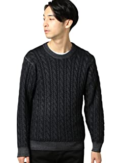 Wool Cable Crewneck Sweater 1213-105-3232: Black