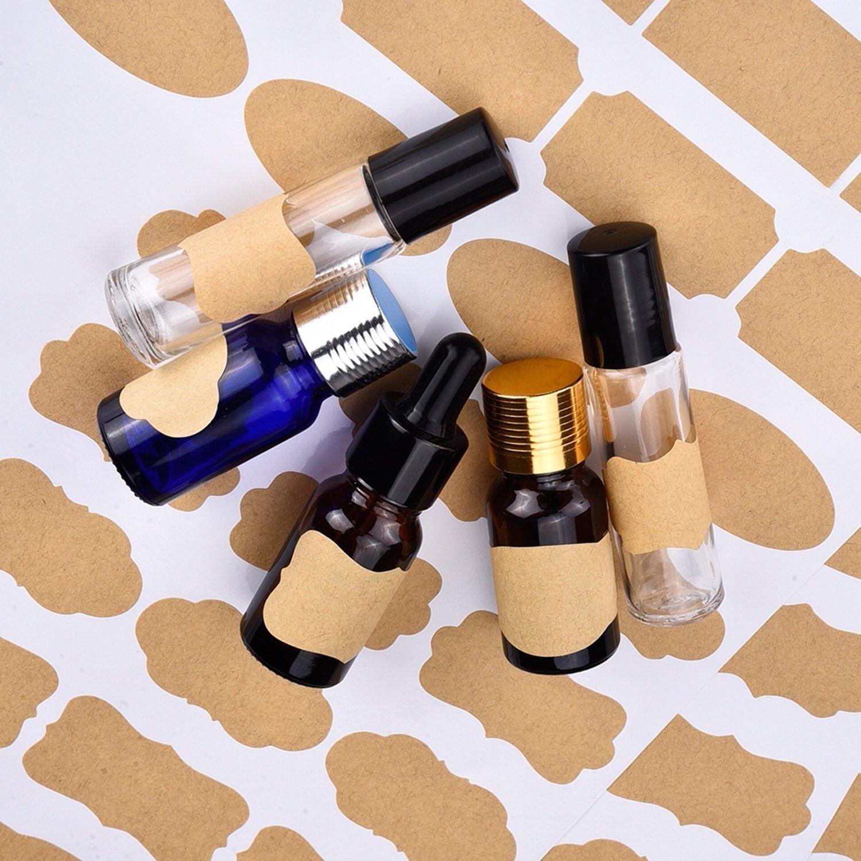 Essential Oil Bottle Marker Labels-Fancy Kraft Paper Stickers For Cosmetic Classification (6sheet-192pcs) by Elandy (Image #5)