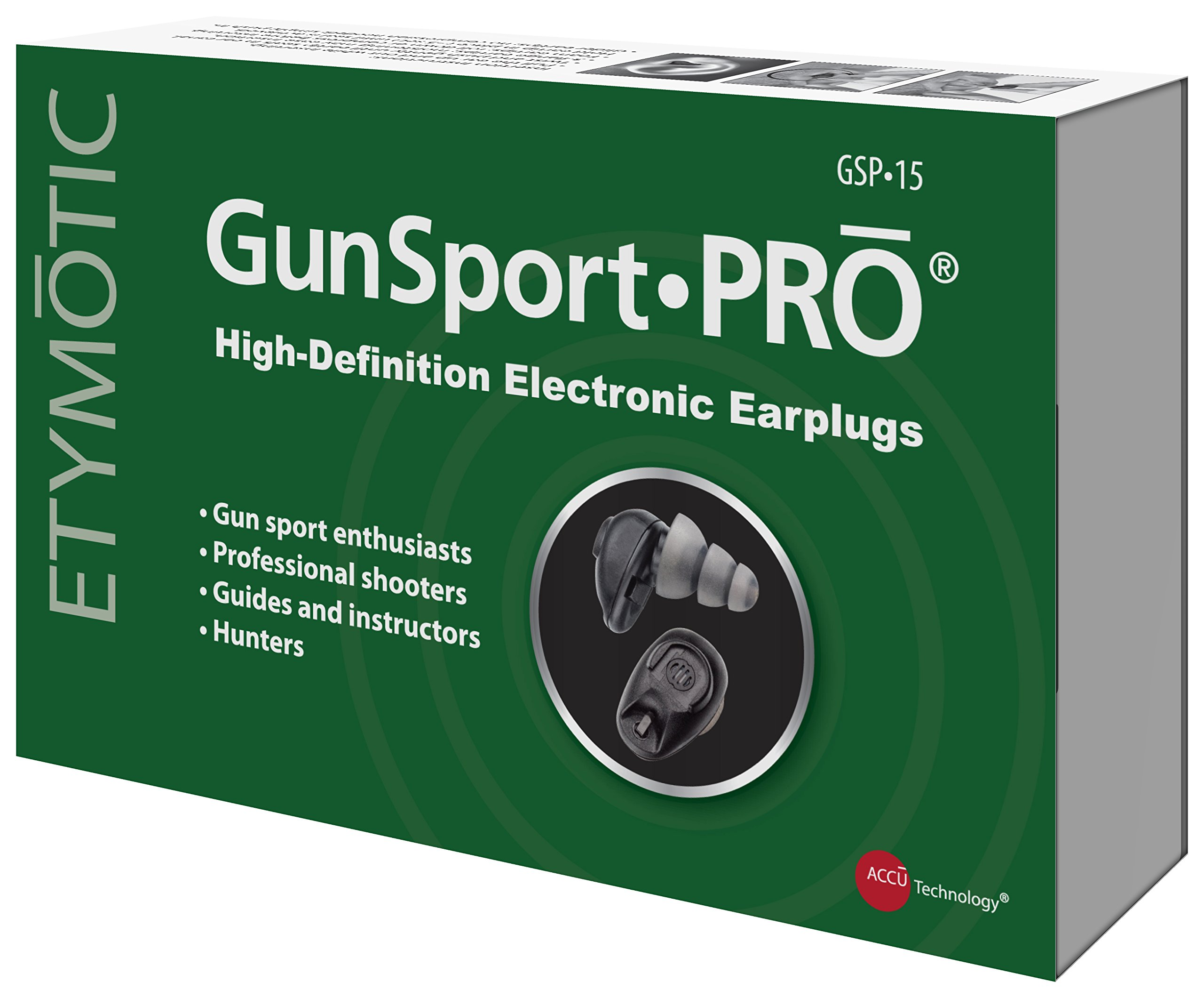 Etymotic GunsportPRO Earplugs, Electronic Hearing Protection Designed for Hunters, Shooters and Gun Enthusiasts, 1 pair, Black by Etymotic Research (Image #5)