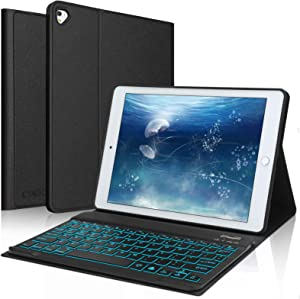 "iPad Keyboard Case for 10.2"" iPad 8th Generation(2020), 7th Gen(2019), Air 3, Pro 10.5, 7 Color Backlit - Built-in Pencil Holder -Magnetical Detachable Wireless Backlit Keyboard (Black)"