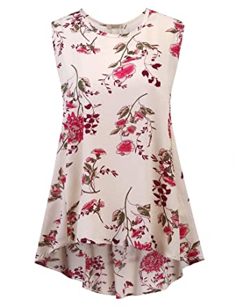 77d2f521c7c3 Amazon.com: Kecooi Women Casual O-Neck Floral Print Sleeveless Vest ...