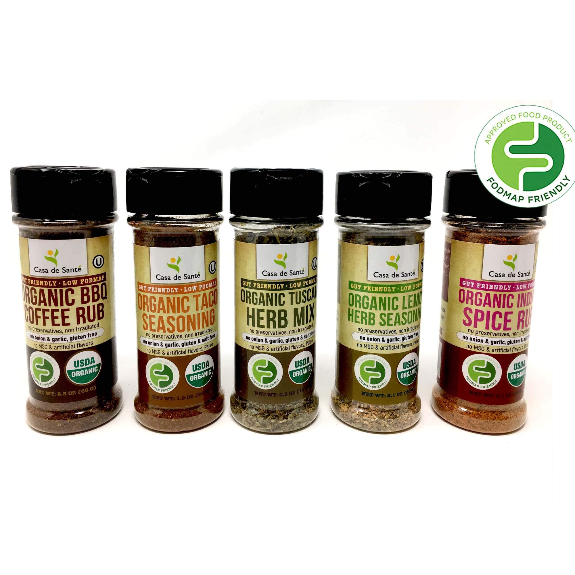 Organic Paleo Seasoning, Low FODMAP Diet Healthy Spices (Starter 5 Pack) | No Onion No Garlic, Gluten-Free, No Carb, Keto, Paleo, Whole30, Kosher, All Natural, Non GMO, Non Irradiated - Casa de Sante by Casa de Sante (Image #1)