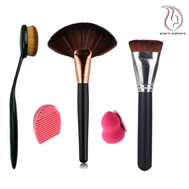 Inicio Makers® Profesional Ventilador de gran tamaño en polvo cepillo, oval cepillo de dientes Curve Contour Brush, Pincel de contorno de soporte de, ...