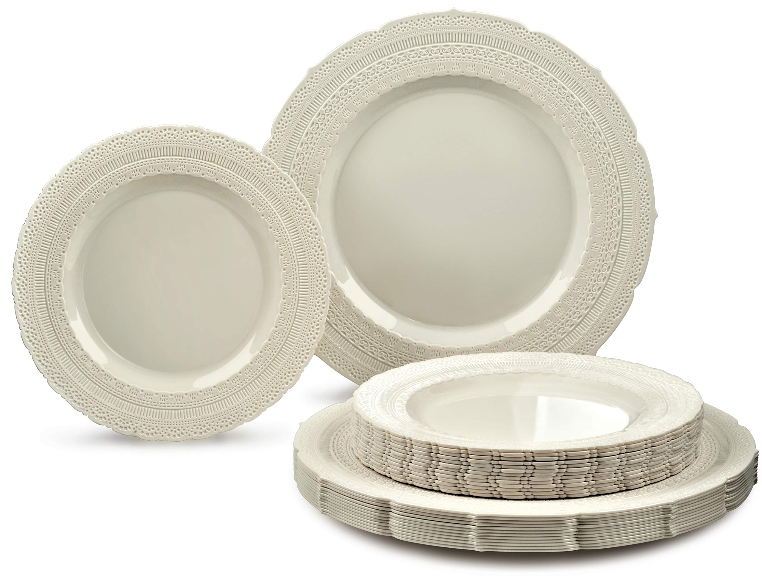 '' OCCASIONS'' 240 PACK Extra Heavyweight Vintage Wedding Party Disposable Plastic Plates Set - 120. x 11'' Dinner + 120 x 8.25'' Salad/Dessert Plate (Chateau Ivory)