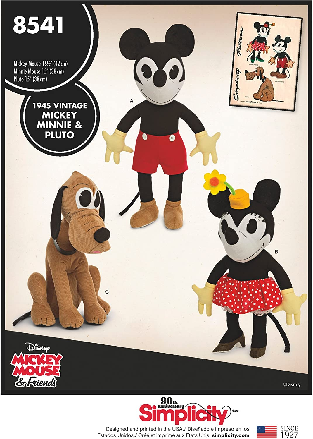 Simplicity Creative Patterns US8541OS Vintage Disney Mickey One Size Minnie /& Pluto Pattern,