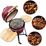 """Aoxun 19"""" Kamado Grill, Roaster and Smoker. BBQ Grill,Multifunctional Ceramic Barbecue Grill, Egg Outdoor Kitchen Style"""