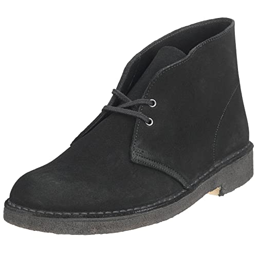Clarks Men's Desert Boot Low Boot, Black Suede, ...