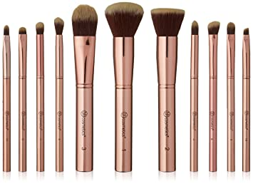 5e4de0a02b6c7 Image Unavailable. Image not available for. Colour  bhcosmetics Metal Rose  – 11 Piece Brush Set With Cosmetic Bag