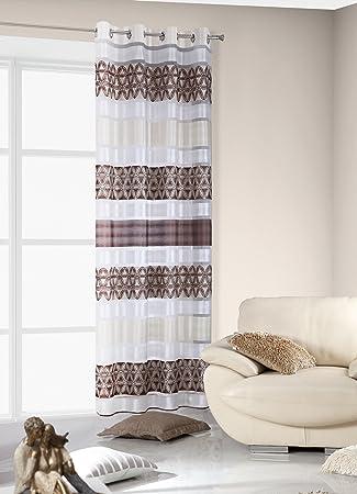 Amazon.de: 140x245 cm braun beige cappucino weiß transparent Vorhang ...