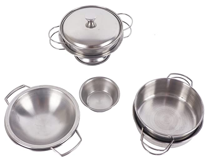 Amazon.com: Pretend toys - Little chef Stainless steel kitchenware 15 sets of toys Cookware Kitchen toys: Toys & Games