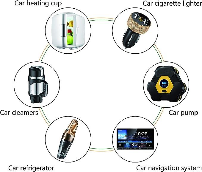 cavo adattatore caricabatteria da auto DC 5,5 mm x 2,1 mm a presa accendisigari femmina connettore femmina per accendisigari da 12//24 V Cerrxian