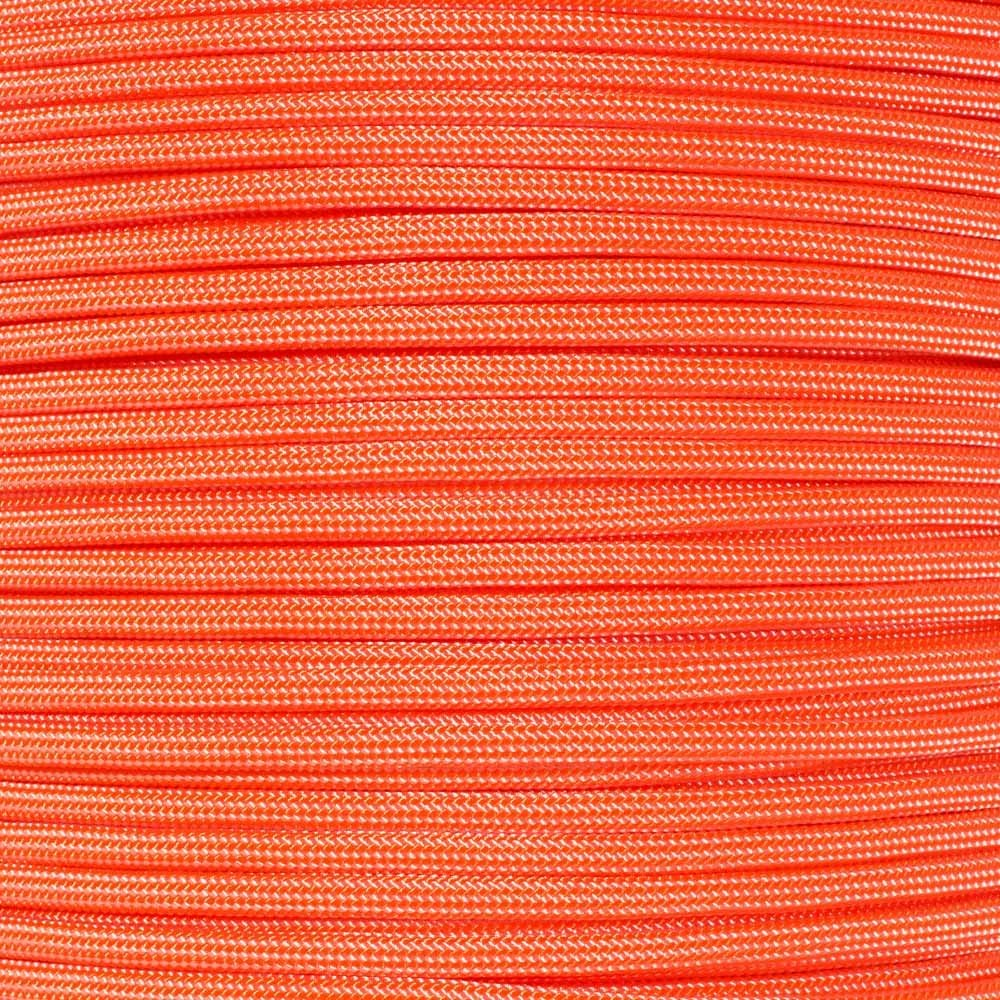 PARACORD PLANET 10 20 25 50 100 Foot Hanks and 250 1000 Foot Spools of Parachute 550 Cord Type III 7 Strand Paracord (Neon Orange w/White Stripes 100 Feet)