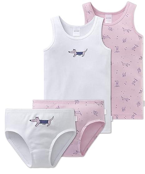 2ccc14db29 Schiesser Mädchen - 4-teiliges Unterwäsche Set Unterhemd + Slip aus der  Serie Puppy Love