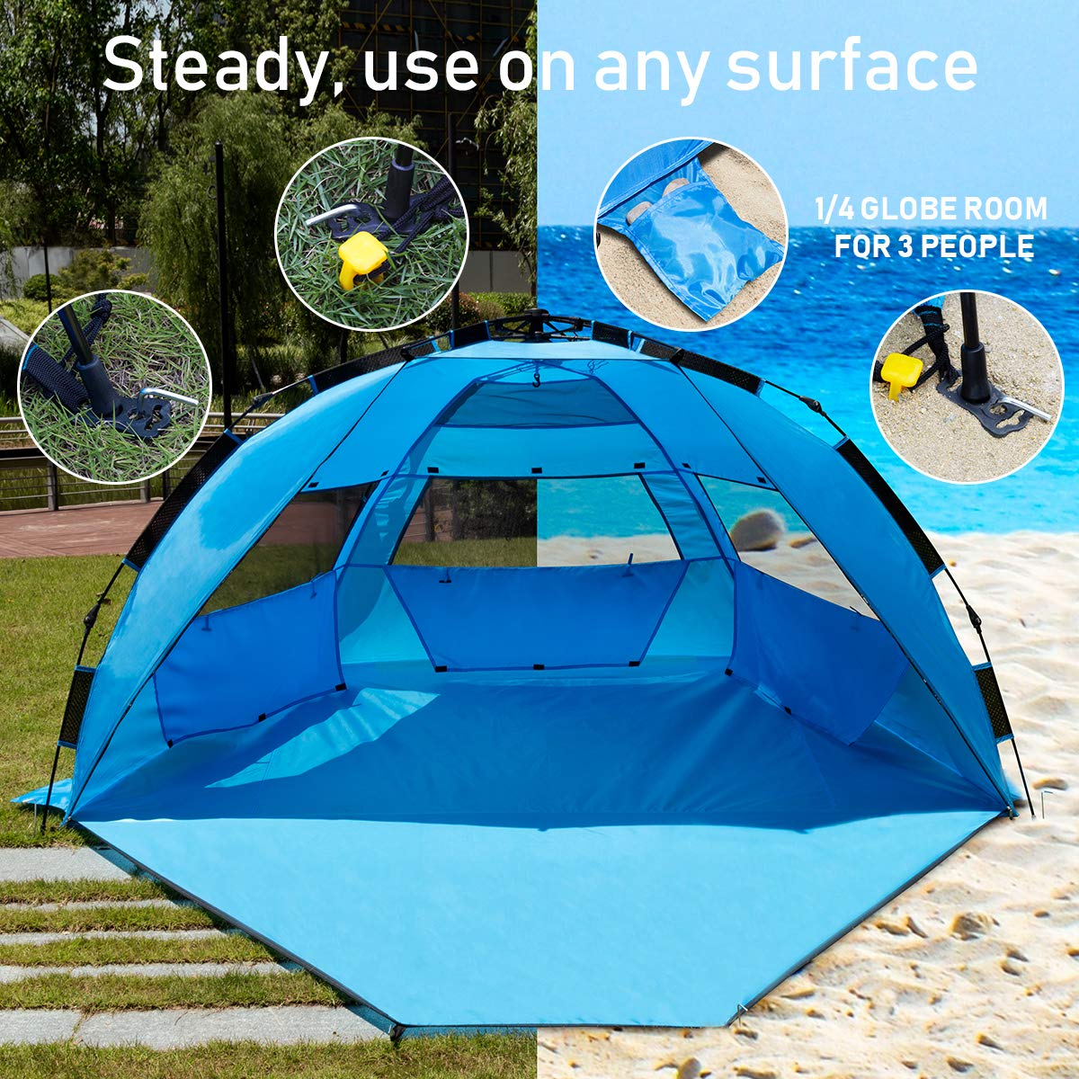 ROPODA /Pop Up Beach Tent Easy to Set Up UV Protection for Kids /& Family Portable Beach Shade with UPF 50
