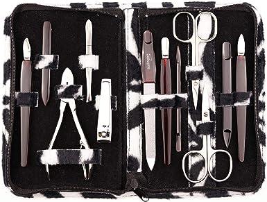 marQus Set de manicura y pedicura de 12 piezas de Solingen Alemania - Set manicura con todo lo necesario para hombre y mujer estuche de piel sintética color: blanco y negro: Amazon.es: