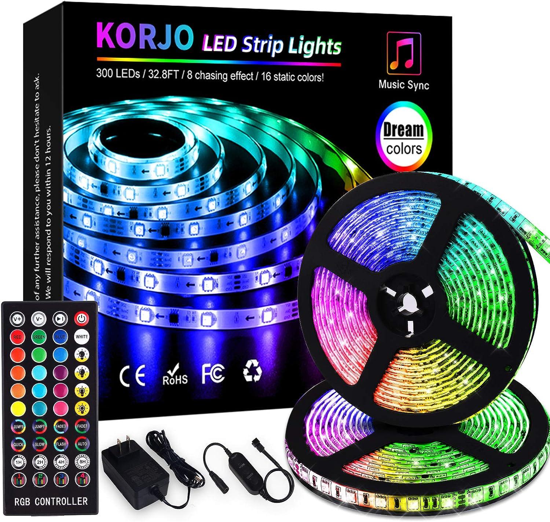 KORJO Led Strip Lights Music Sync, 32.8ft Dream Color Led Lights with RF Remote, 12V 300 LEDs Color Changing Rope Lights kit, Flexible Music Lights for Bedroom, Home Lighting, Bar, Party Decoration