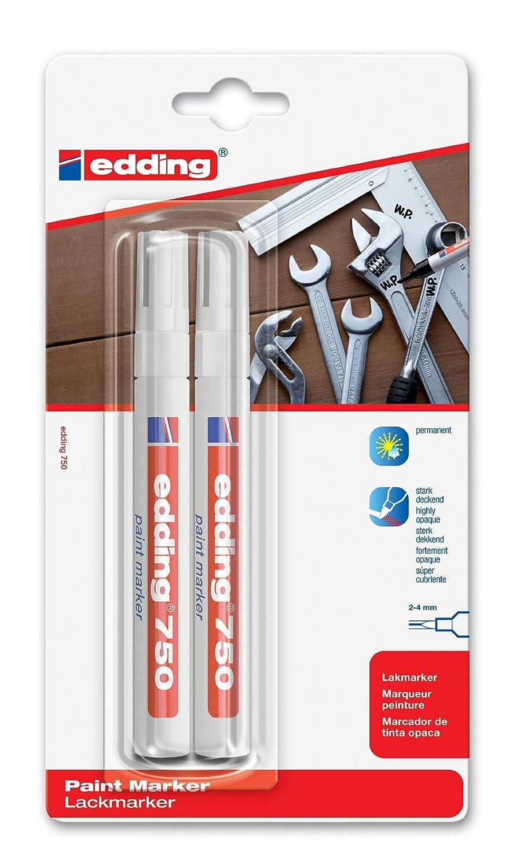 edding 4-750-2-3049 Lackmarker 750 Industrie, 2-4 mm, weiß weiß