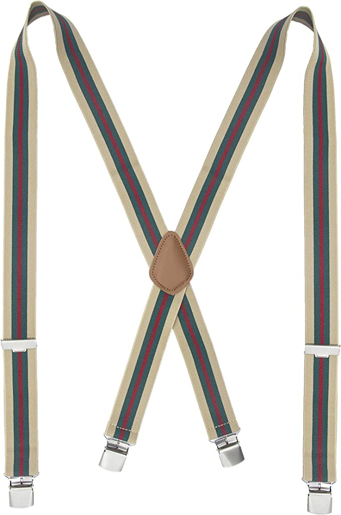 "Jazz Suspenders 1920/'s Braces Clip-On 1-1//8 /"" Elastic One Size White or Red"