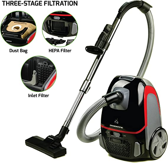 Ovente Electric Canister Vacuum 1400 Watts with Energy Saving Speed Control