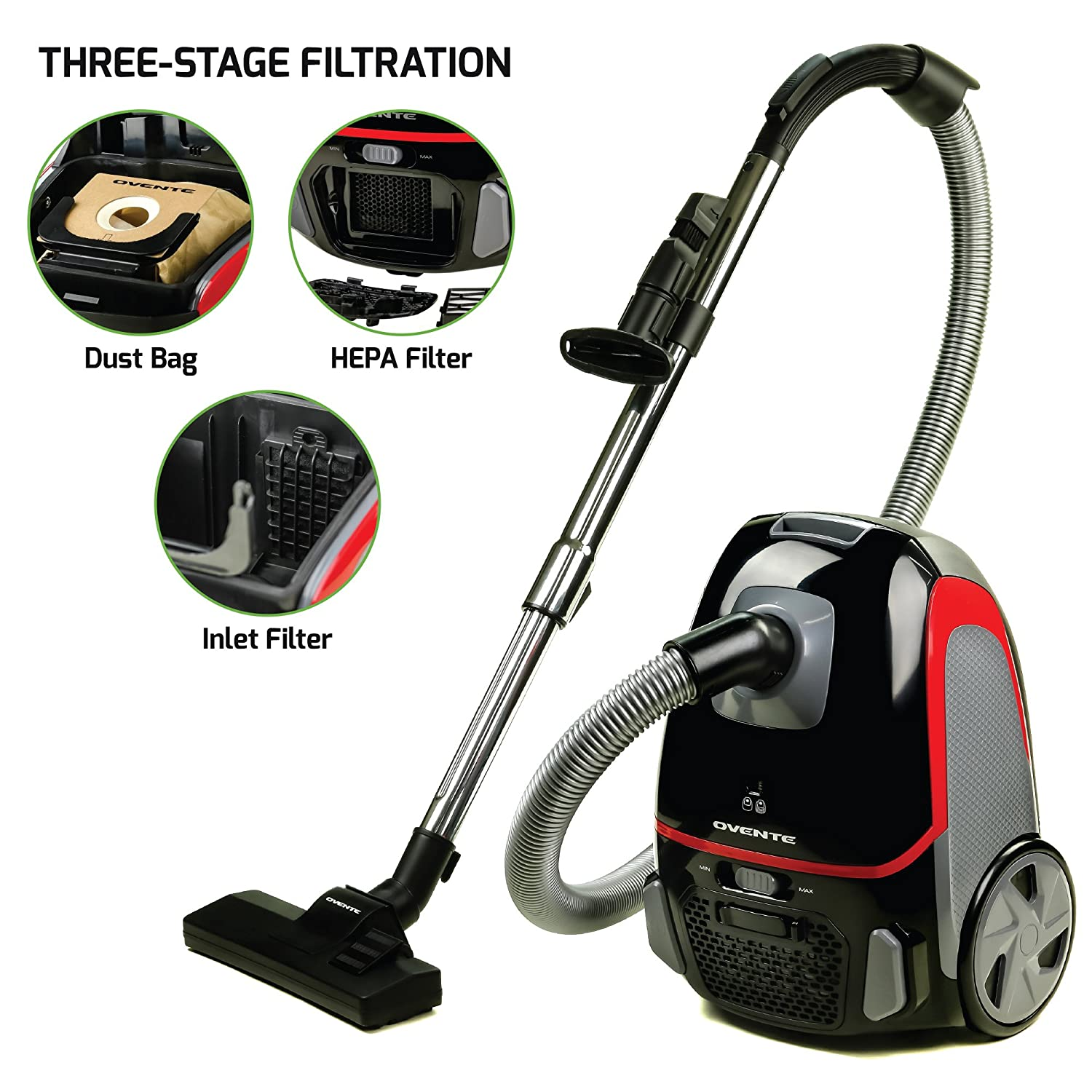 Ovente Electric Vacuum, 3-Stage Filtration with HEPA Filter, Energy-Saving Speed Control, 1400W, Black (ST1600B)