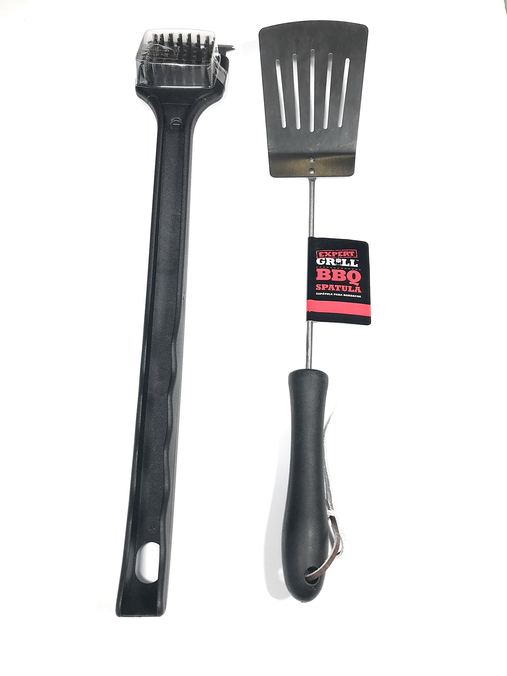 BBQ Grill Tools Set: Grill Brush Scraper with Grilling Spatula - Stainless Steel - Outdoors Camping Tailgate - Bundle - Great Barbecue Accessories