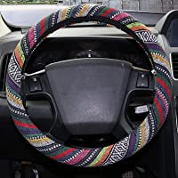 Copap 15 inch Baja Blanket Car Steering Wheel Cover Multi-Color Woven Coarse Flax Cloth Fit Most Auto Cars