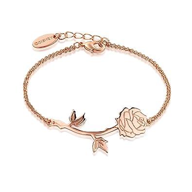 53aacdd4c Disney Beauty & The Beast Rose Gold-Plated Enchanted Rose Bracelet:  Amazon.co.uk: Jewellery